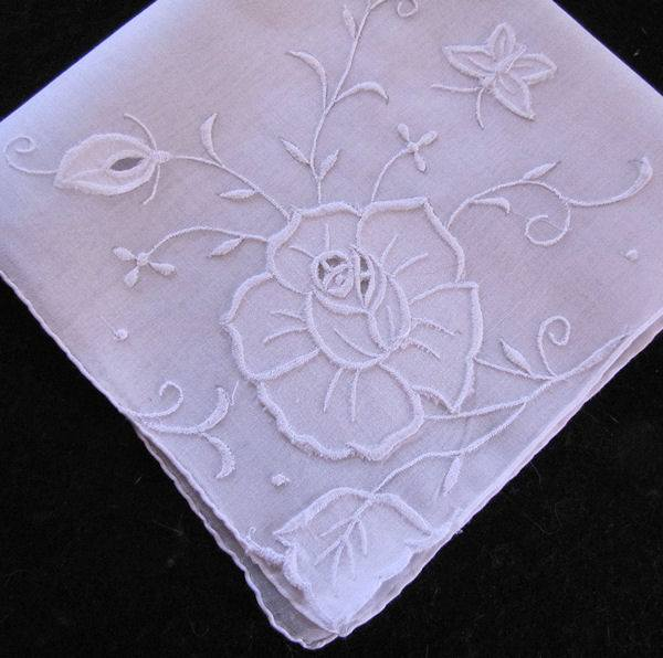 vintage whitework hanky with flower and butterfly