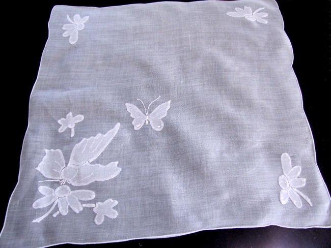 vintage handmade whitework hanky appliqued hummingbird