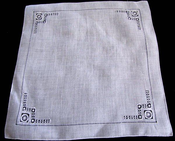 vintage handmade whitework hanky with needle lace