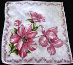 vintage floral print hanky pink flowers