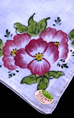 vintage blue hand painted hanky by Hertzman
