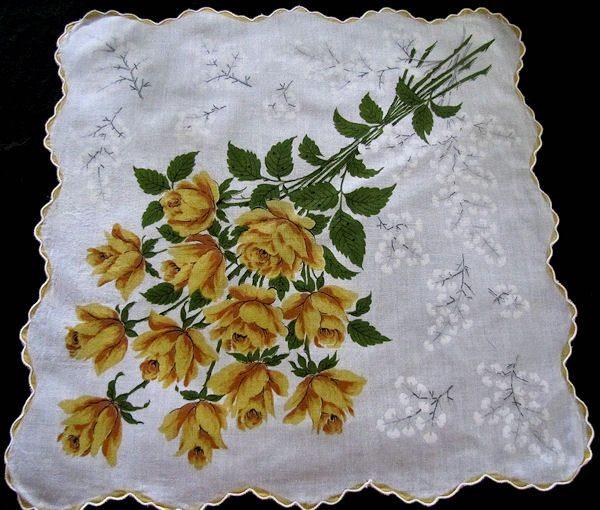 vintage yellow roses floral print hanky