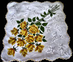 vintage floral print hanky yellow roses