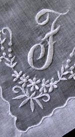 vintage whitework hanky monogrammed F