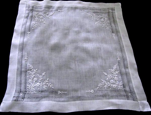 antitque french whitework hanky handmade