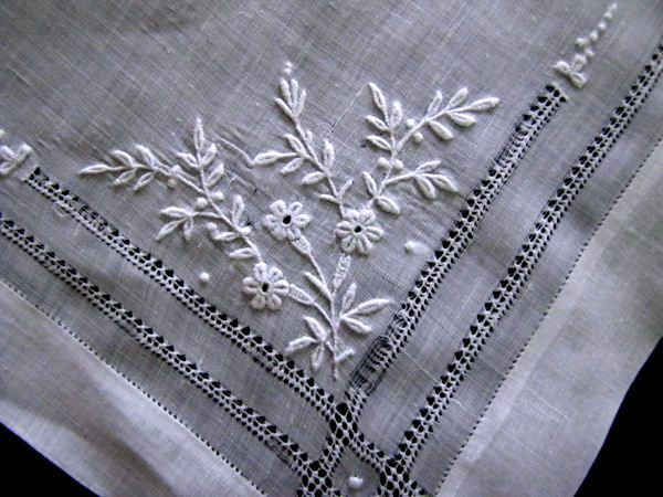 close up 1 antique french whitework hanky