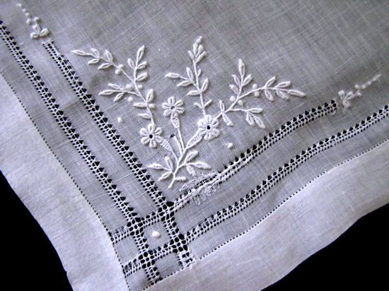 close up 2 antique french whitework hanky