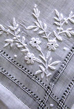 antique French whitework handmade hanky