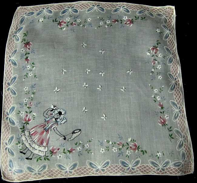 vintage child's print hanky nursery rhyme
