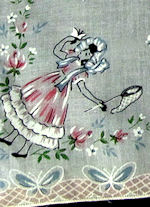 vintage child's hanky girl with butterflies