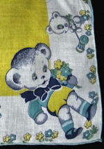 vintage child's hanky Teddy bears print