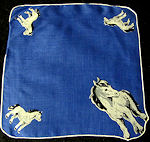 vintage child's hanky ponies print on blue