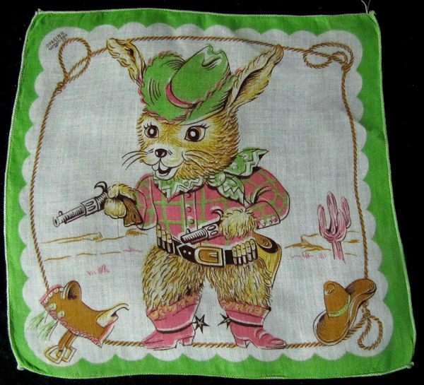 vintage child's hanky with cowboy bunny rabbit