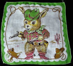vintage child's hanky cowboy bunny rabbit
