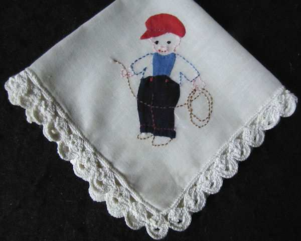 vintage handmade child's hanky boy with lasso