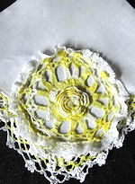 vintage Irish linen hanky with handmade Irish lace flower