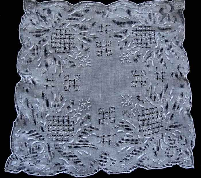 vintage antique Madeira whitework handmade lace wedding hanky