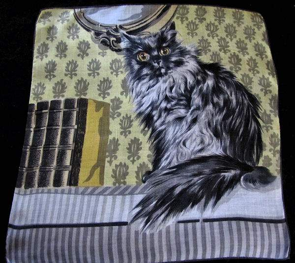vintage designer hanky showing Maine Coon cat