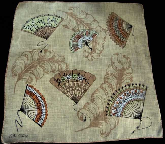 vintage designer Erin O'Dell fans and plumes hanky
