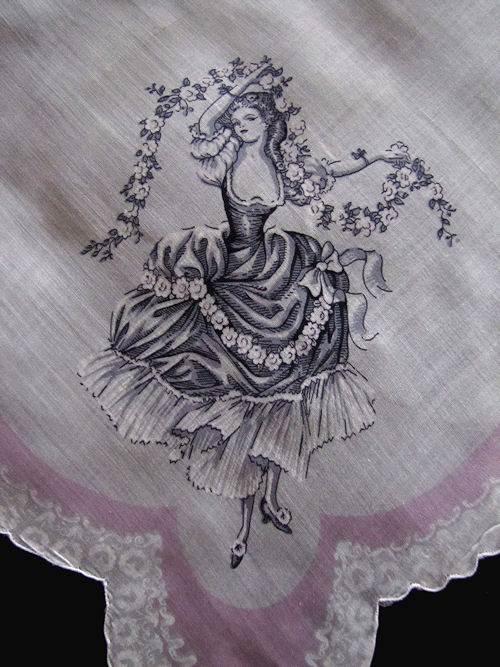 vintage dancing lady designer hanky close up