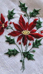 vintage hanky embroidered Christmas poinsettas