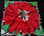 vintage Christmas hanky Single Blossom poinsetta