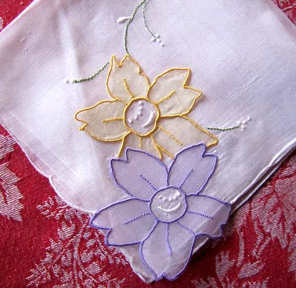 vintage stand-up organdy flowers hanky