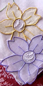 vintage handmade hanky stand up organdy flowers embroidery