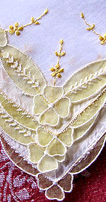 vintage embroidered hanky yellow organdy
