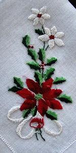 vintage Christmas poinsettas hanky