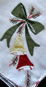 vintage handmade Christmas hanky