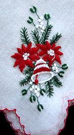 vintage Christmas hanky poinsettas