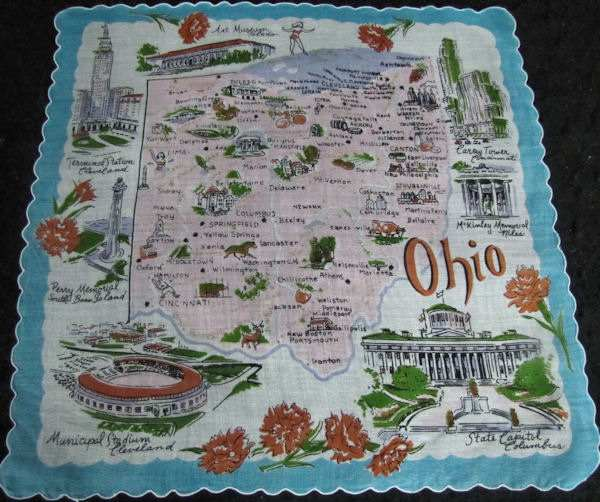 vintage state map Ohio hanky