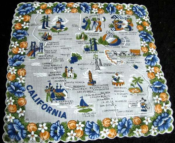 vintage state map hanky California