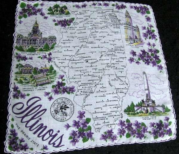 vintage Illinois state map hanky