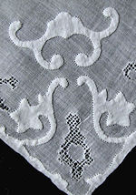 vintage handmade whitework hanky mosaic drawnthread lace and applique