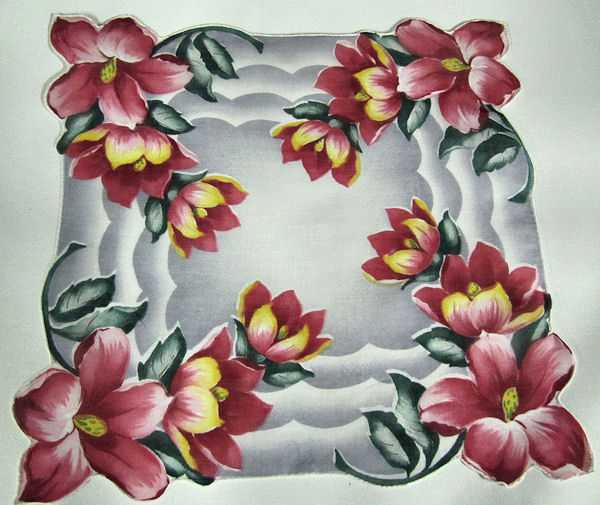 vintage floral print hanky with custom-cut corners