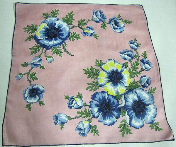 vintage  floral print hanky pink with blue flowers