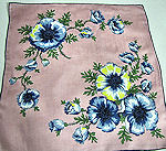 vintage pink hanky with blue floral print