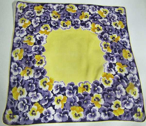 vintage floral print hanky with vivid pansies