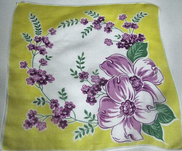 vintage floral print hanky yellow and white with purple flowers