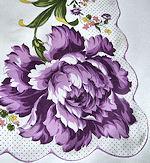 vintage floral print hanky big purple flower