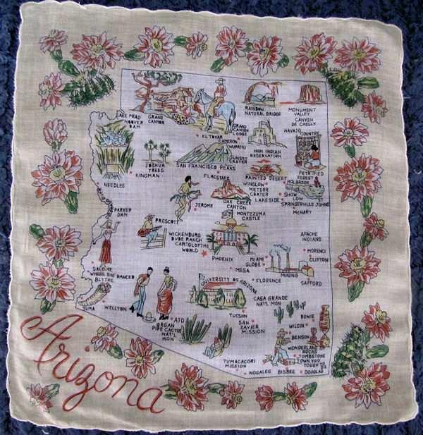 vintage Arizona state map hanky