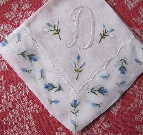 vintage monogrammed D hanky blue flowers
