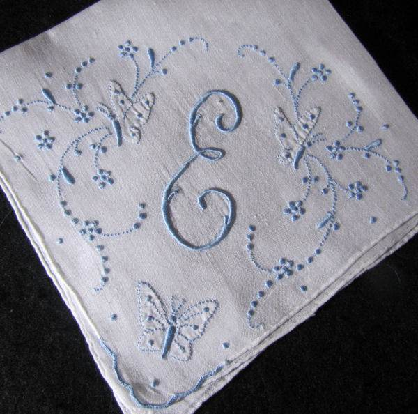 vintage handmade monogrammed E hanky with Butterflies