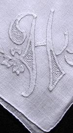 vintage handmade whitework hanky monogrammed H