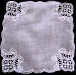 vintage antique wedding brides hanky Brussesl lace