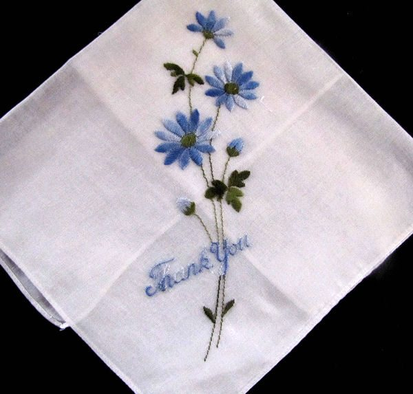 vintage thank you embroidered hanky