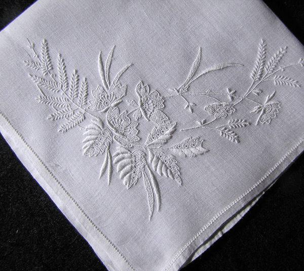 vintage handmade whitework hanky embroidered ferns and flowers