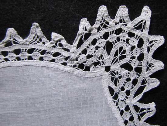 close up vintage antique wedding brides hanky handmade lace